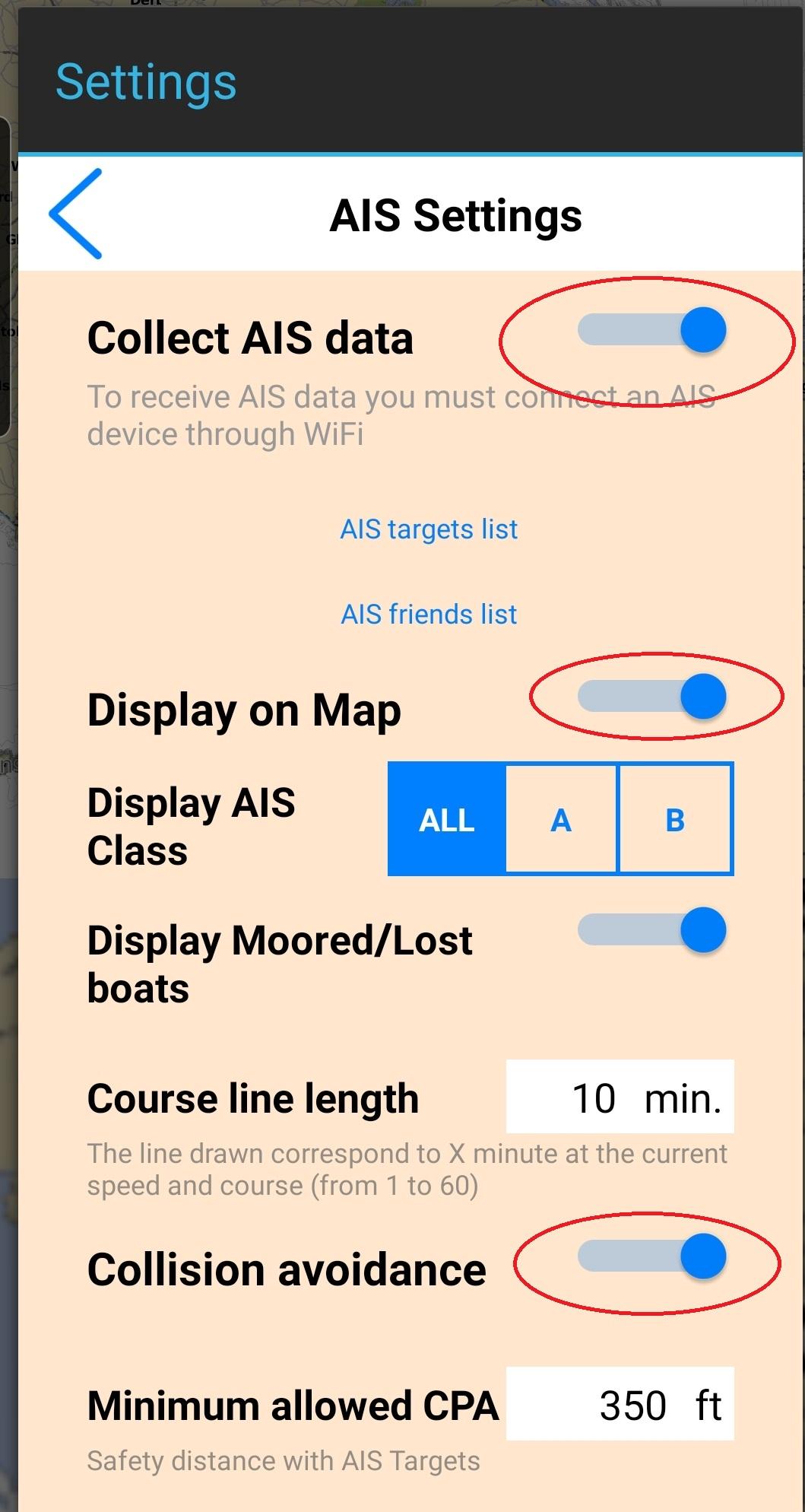 AIS parameters in Aqua Map