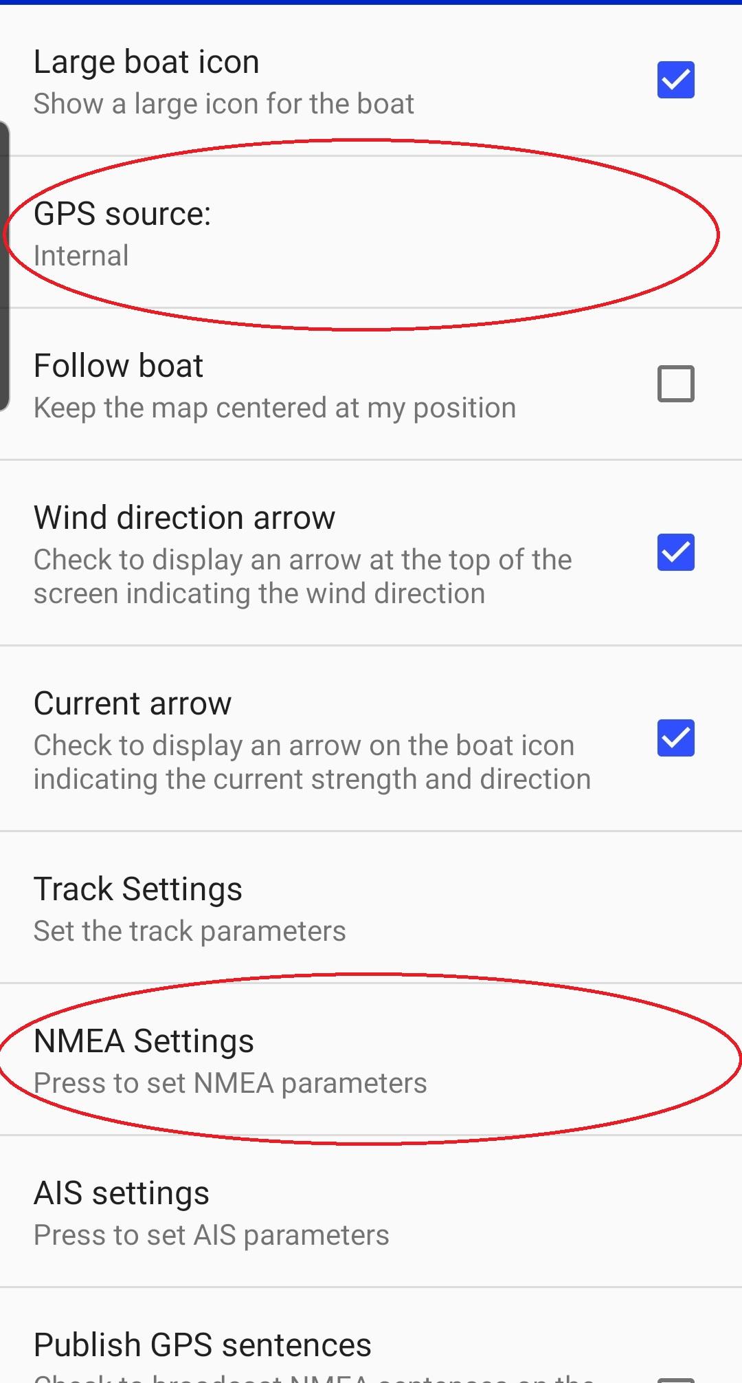 NMEA settings in SailGrib