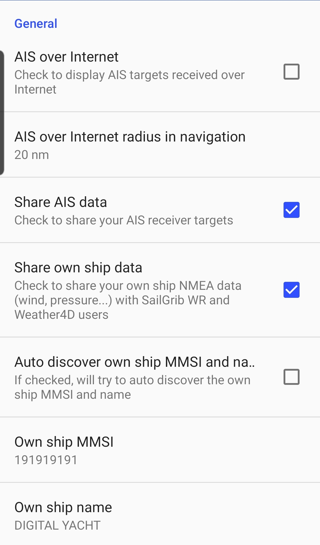AIS settings in SailGrib